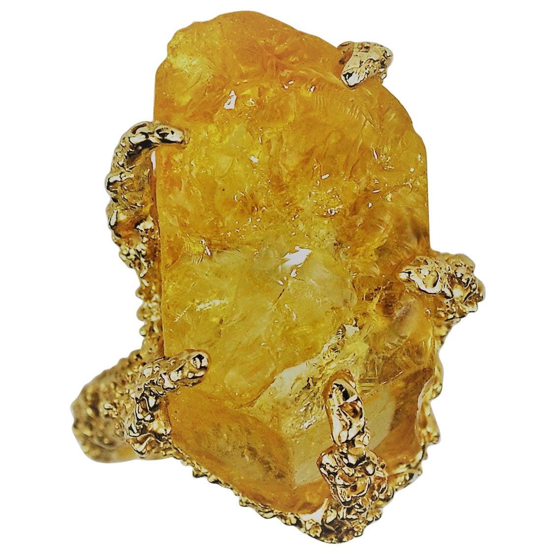 Abstract Raw Citrine Crystal Cocktail Ring, 14 Karat Gold, circa 1960