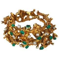Modernist 14K Gold Emerald Diamond Free Form Gold Bracelet circa 1960