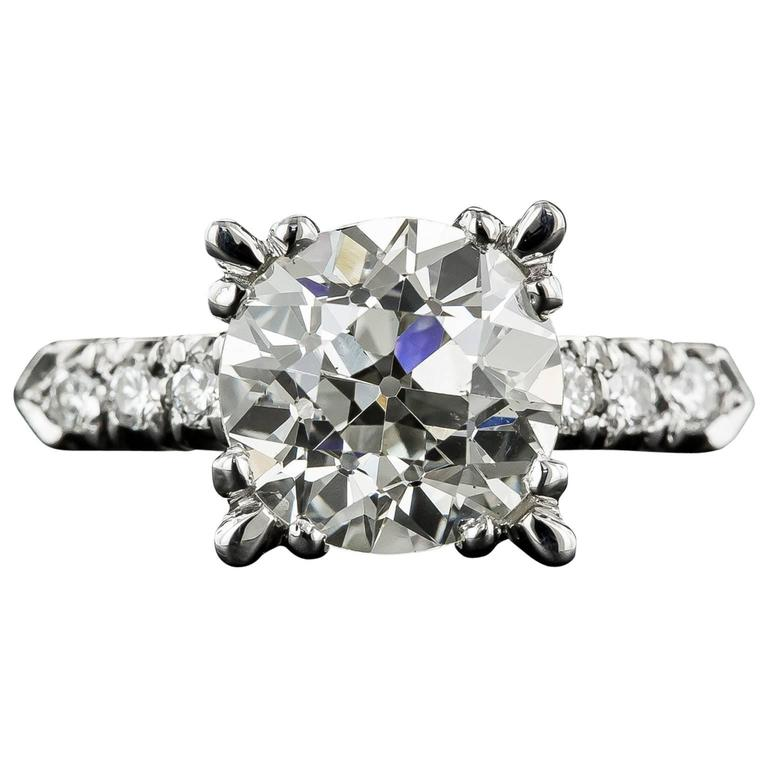 3.95 Carat GIA Cert European Cut Diamond Platinum Ring