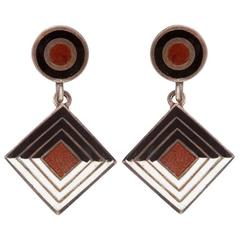 Margot De Taxco Enamel Earrings