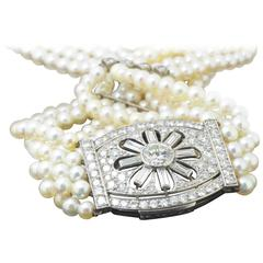 Platinum, Gold, Diamond and Pearl Choker Necklace