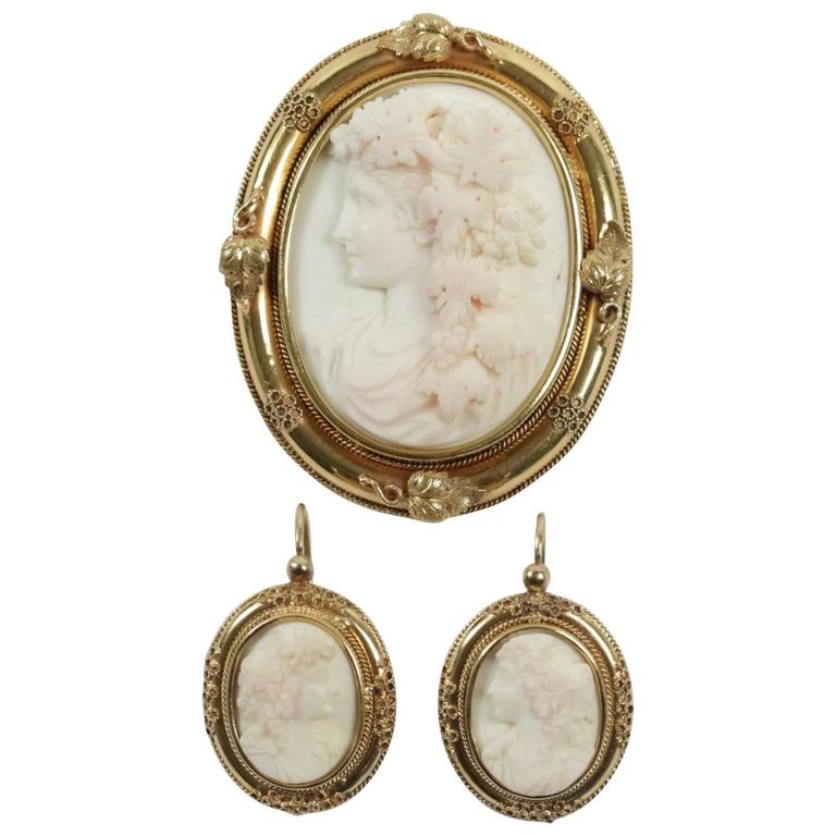 Antique Cameo Coral Gold Brooch And Earrings At 1stdibs