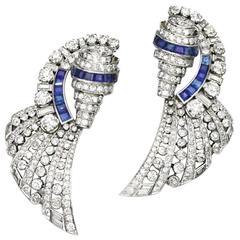 1930s French Art Deco Sapphire Diamond Platinum Brooches