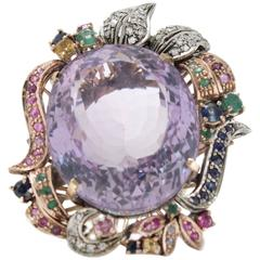 Luise 16.90 Carat Purple Topaz Sapphire Emerald Ruby Diamond Silver Gold Ring