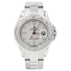 Rolex Platinum Stainless Steel Yachtmaster 29mm Steel Case Wristwatch
