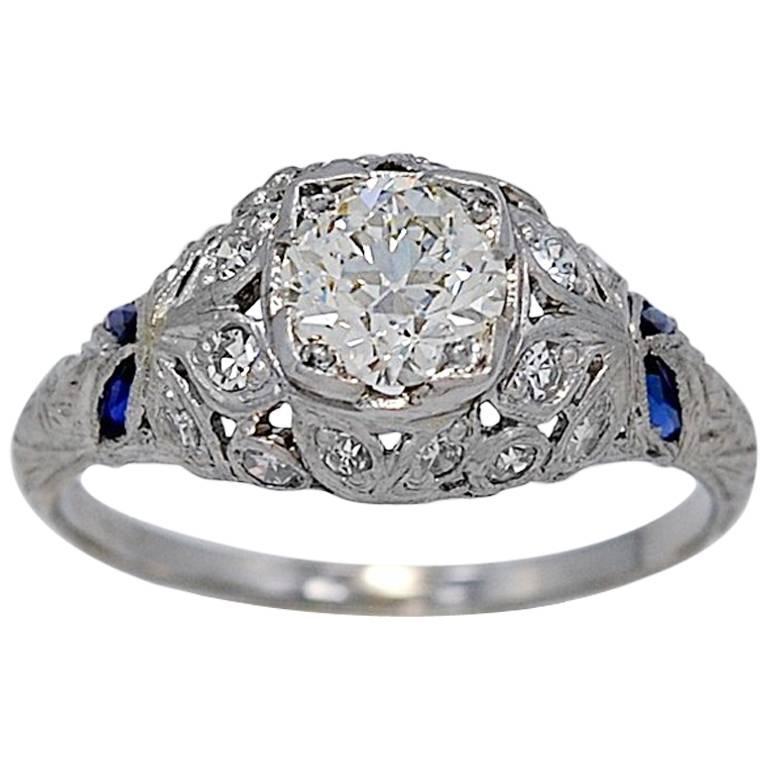Antique Art Deco Vivid .83 Carat Diamond Sapphire Platinum Engagement Ring