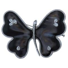 AMBROSI Black Mother of Pearl  Diamond  Butterfly Pin