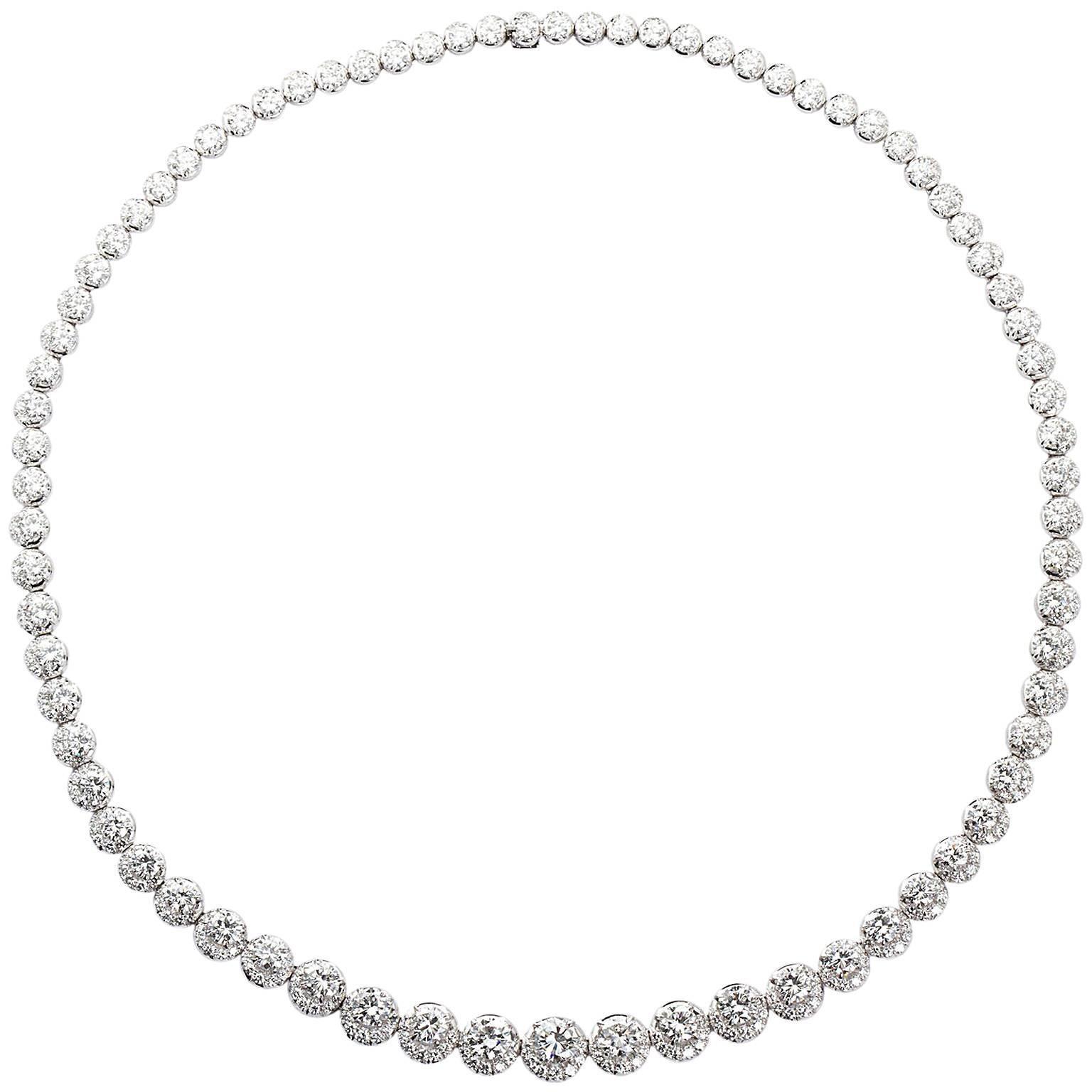 22 Carat Diamond Platinum Riviére Necklace