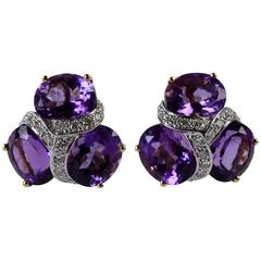 Three-Stone Amethyst Diamond and Gold Earrings