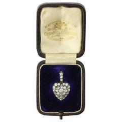 Goldsmiths & Silversmiths Edwardian Rock Crystal Diamond Gold Heart Locket