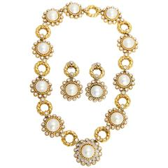 Pearl Diamond Gold Set