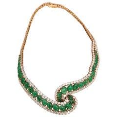 Cabochon Emerald and Diamond Necklace