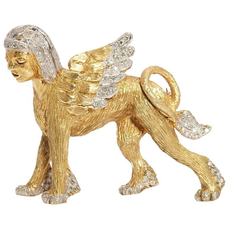 1970s Italy Diamond Gold Sphinx Brooch