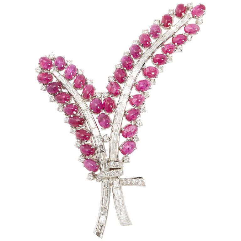 1960s Ruby Diamond Gold Floral Brooch