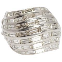 1970s 3.5 Carats Diamonds Gold Ring