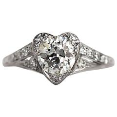 1920s Art Deco Platinum Diamond GIA Certified Heart Shaped Engagement Ring