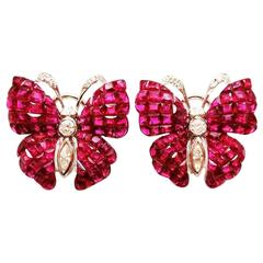 Ruby Diamond Gold Butterfly Stud Earrings