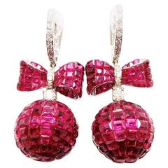 Ruby Diamond Gold Ribbon Ball Drop Earrings