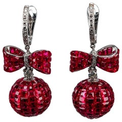 18K White gold invisible Ruby Diamond Gold Ribbon Ball Drop Earrings