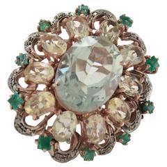 Luise Green Amethyst Topaz Diamond Silver Gold Ring
