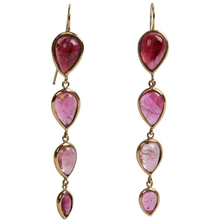 Marion Jeantet Pink Tourmaline Cabochon Pear Shape Pendant Earrings
