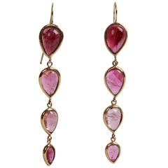 Pink Tourmaline Cabochon Pear Shape Pendant Earrings Created by Marion Jeantet
