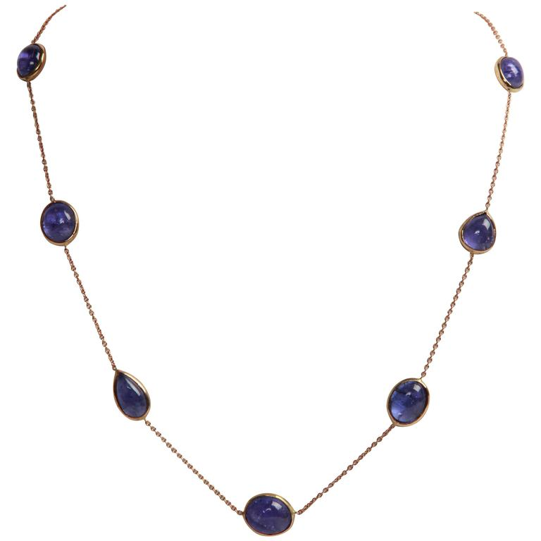 Tanzanite Cabochons and Gold Necklace by Marion Jeantet