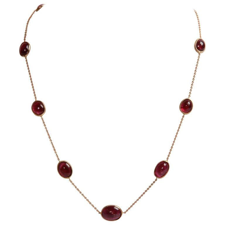 Pink Tourmaline Cabochons and Gold Necklace Created by Marion Jeantet