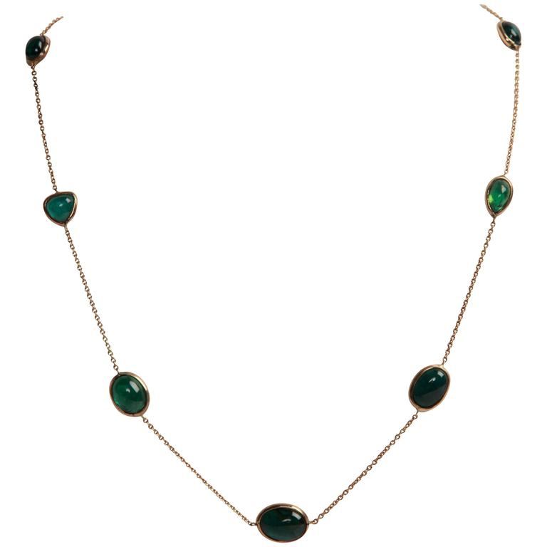 Green Tourmaline Cabochons and Yellow Gold Necklace by Marion Jeantet