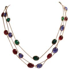 Three Two Color Gold Necklaces with Tourmaline Tanzanite Cabochons by M. Jeantet