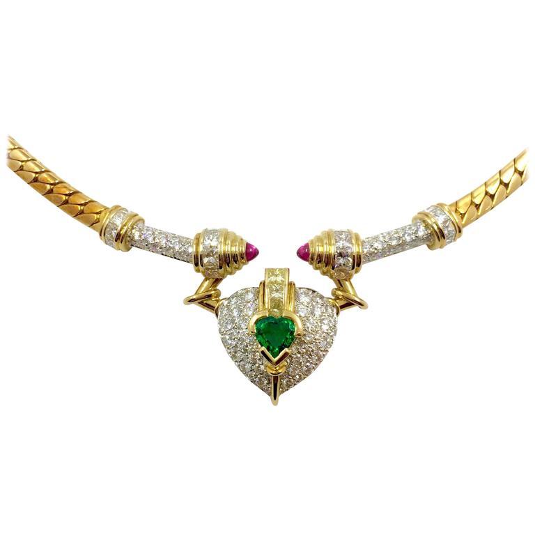 G. Minner Heart Shaped Emerald Pink Sapphire Diamond Gold Necklace
