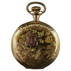 Elgin Tricolor Gold Hunter Case Pocket Watch