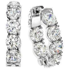 .75 Inch Inside Out Diamond Gold Hoops Earrings