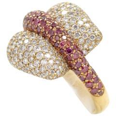 Ionescu Design White and Purple Diamond Gold Ring