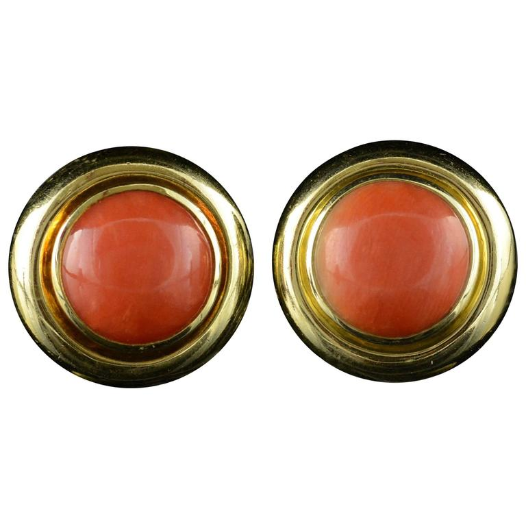 Tiffany & Co. Paloma Picasso Coral Gold French Clip Earrings For Sale