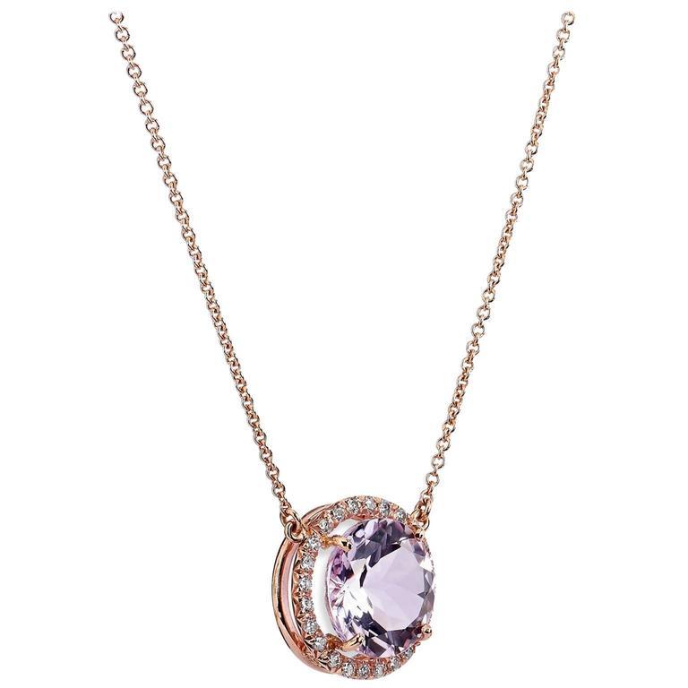 Rose de France Amethyst Diamond Gold Pendant Necklace
