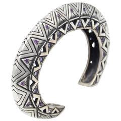Amethyst Iolite Citrine Sapphire Sterling Silver Cuff Bracelet