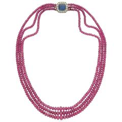 Bulgari Ruby Beads Sapphire Diamonds Necklace