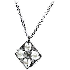 Antique Seed Pearl Diamond Platinum Pendant