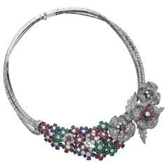 Marchak Important Ruby Sapphire Emerald Diamond Platinum Necklace