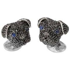 Deakin & Francis Black Spinel Sterling Silver Pug Cufflinks