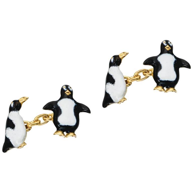 White and Black Enamel Gold Penguin Cufflinks