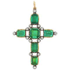 Antique Georgian Colombian Emerald Diamond Cross Provenance 1st Earl Camden