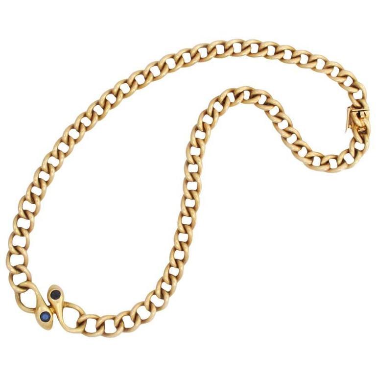 Van Cleef & Arpels Paris Sapphire Gold Snake Necklace