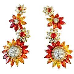 Stunning Citrine  Diamond Gold Dangle Earrings