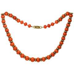 1960s Van Cleef & Arpels Coral Gold Bead Necklace