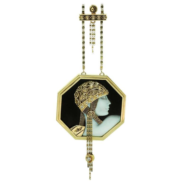1979 erte aventurine black onyx diamond gold cameo pendant necklace 1979 erte aventurine black onyx diamond gold cameo pendant necklace for sale aloadofball Image collections
