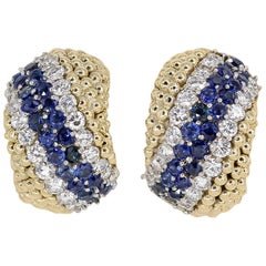 Van Cleef & Arpels Couscous Sapphire Diamond Gold Earrings