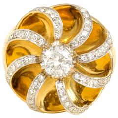 Retro Rene Boivin Diamond Gold Ring
