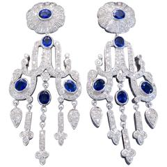 Diamond Pearl And Antique Chandelier Earrings 528 For